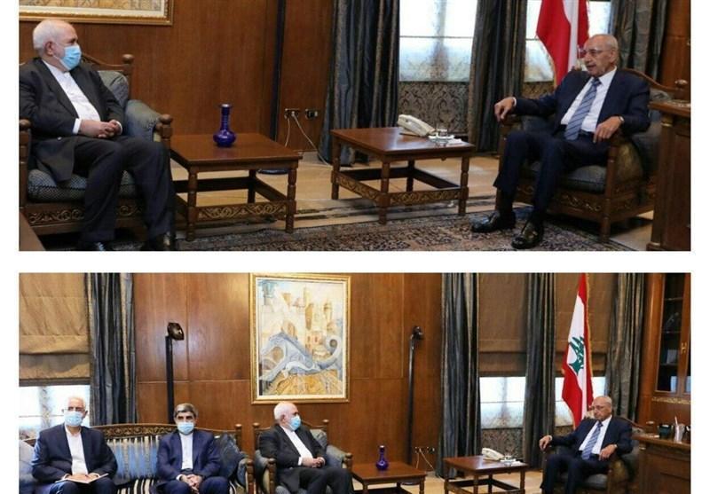 دیدار ظریف با رئیس مجلس لبنان